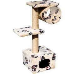 Когтеточка Зооник Дом с 2-мя площадками и трубой цветной мех для кошек 400 х 360 х 980см (22018)