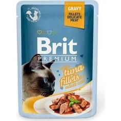 Паучи Brit Premium GRAVY with Tuna Fillets for Adult Cats кусочки в соусе с филе тунца для взрослых кошек 85г (518548) Brit*