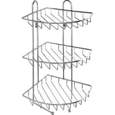 Полка Milardo трехъярусная угловая с крючками, нержавеющая сталь (110WC30M44)