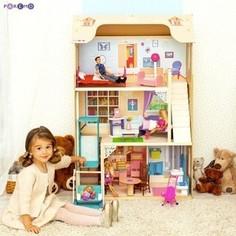 PAREMO Кукольный домик для Барби Грация (16 предметов мебели, лестница, лифт, качели) (PD315-03)
