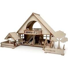 Кукольный домик ХэппиДом Летний дом с беседкой и качелями из дерева (HK-D005)