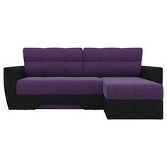 Диван угловой АртМебель Амстердам микровельвет фиолетовый/черный правый угол