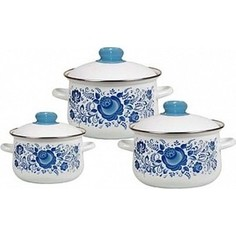 Набор эмалированной посуды 3 предмета СтальЭмаль Гжель 1с408