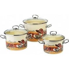 Набор эмалированной посуды 3 предмета Idilia Кокетка (I1500)