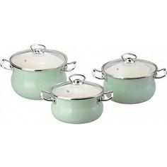 Набор эмалированной посуды 3 предмета Idilia Мятная прохлада (I1000)