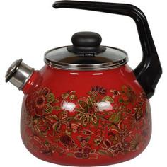 Чайник эмалированный со свистком 3.0 л Vitross Imperio вишня 1RC12