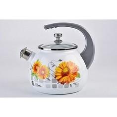 Чайник эмалированный со свистком 2.5 л Laurel Life in flowers (L92711LiF)