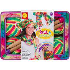 Набор для творчества Alex для вязания спицами Разноцветные шарф и шапочка, от 7 лет Alex®