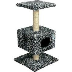 Когтеточка Зооник Дом на подставке мех для кошек 450 х 450 х 800см (22012)