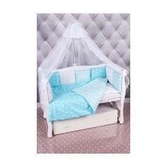 Комплект постельного белья AmaroBaby 18 предметов (6+12 подушек-бортиков) Royal Baby ( бязь, бирюзовый)