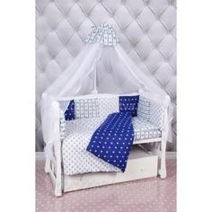 Комплект постельного белья AmaroBaby 18 предметов (6+12 подушек-бортиков) Бриз (бязь, синий-белый)