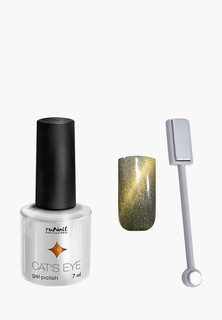 Набор для ухода за ногтями Runail Professional магнит и Гель-лак Cat's eye золотистый блик, цвет: Сияющая кошка