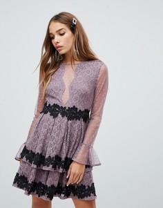 Платье мини для выпускного с сетчатой вставкой Dolly & Delicious - Розовый