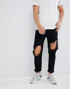 Рваные джинсы в стиле 90-х Diesel Mharky 084WR - Черный