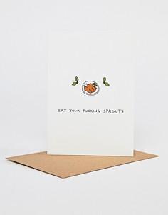 Новогодняя открытка Eat Your Fucking Sprouts Ohh Deer - Мульти