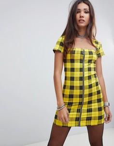 Желтое платье в клетку с квадратным вырезом Motel - Желтый