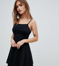 Короткое приталенное платье ASOS DESIGN Petite - Черный