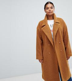 Коричневое длинное пальто из искусственного меха Missguided Plus - Красный
