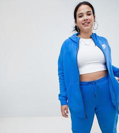 Худи синего цвета на молнии с логотипом-галочкой Nike Plus Rally - Синий
