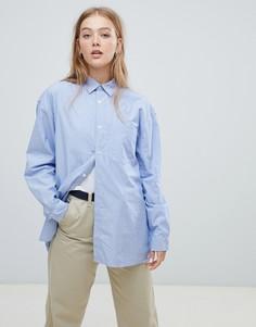 Свободная рубашка бойфренда в полоску Carhartt WIP - Синий