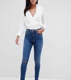 Темные джинсы скинни с завышенной талией и рваными коленями ASOS DESIGN Tall Ridley - Синий