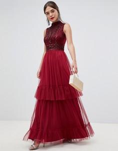 Платье макси с высоким воротом и отделкой Frock & Frill - Красный