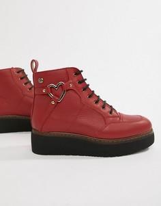Полусапожки на платформе Love Moschino - Красный