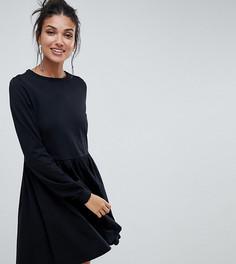 Свободное хлопковое платье с длинными рукавами ASOS DESIGN Tall - Черный