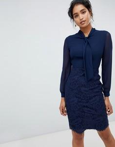 Темно-синее платье 2 в 1 с кружевной юбкой Paper Dolls - Темно-синий