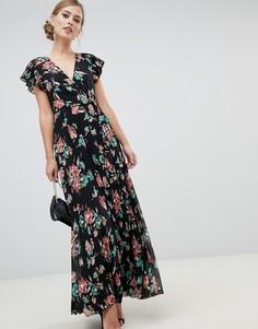 Плиссированное платье макси с расклешенными рукавами и цветочным принтом ASOS DESIGN - Мульти