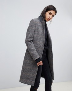 Пальто в клетку AllSaints - Серый