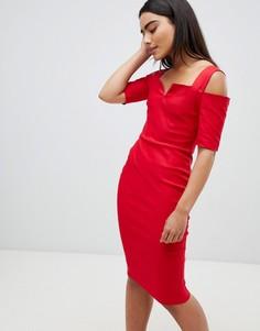 Платье миди с вырезами на плечах Vesper - Красный