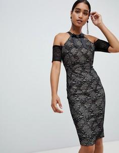 Платье-футляр миди с вырезами на плечах Vesper - Черный