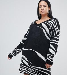 Черно-белое платье-джемпер в полоску Missguided Plus - Мульти