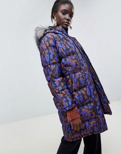 Пальто с искусственным мехом на капюшоне Selected Femme - Черный