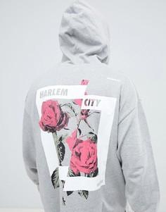 Серый oversize-худи с цветочным принтом на спине ASOS DESIGN - Серый