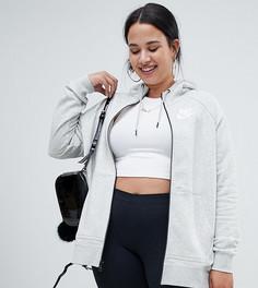 Серый худи на молнии с логотипом Nike Plus Rally - Серый