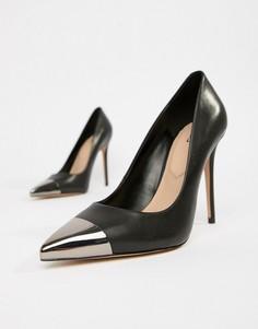 Черные кожаные туфли-лодочки с металлической отделкой на носке ALDO Edania - Черный