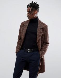 Шерстяное пальто в коричневую клетку Antony Morato - Коричневый