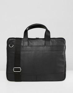 Черная узкая кожаная сумка для ноутбука ASOS DESIGN - Черный