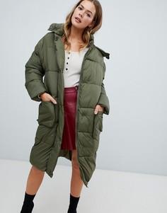 Длинная дутая куртка цвета хаки Missguided - Зеленый