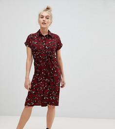 Платье-рубашка с камуфляжным принтом New Look Petite - Красный