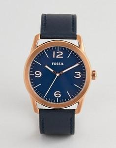 Темно-синие мужские часы с кожаным ремешком Fossil BQ2306 - Темно-синий