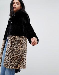 Искусственная шуба с леопардовым принтом Barneys Originals - Черный