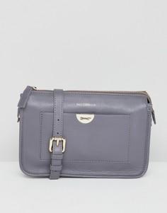 Кожаная сумка через плечо с логотипом на кармане Paul Costelloe - Серый