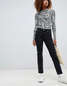 Узкие джинсы прямого кроя с классической талией Weekday - Черный