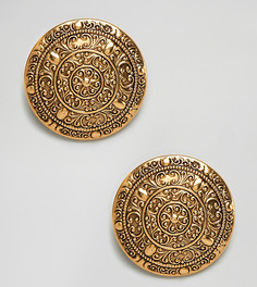 Позолоченные большие броские клипсы с дизайном в виде монет с орнаментом Regal Rose Dominique - Золотой
