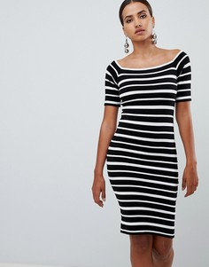 Платье в полоску с открытыми плечами Lipsy - Мульти
