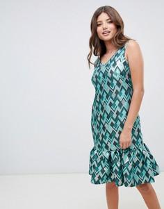 Платье на подкладке с оборкой по краю Closet London - Мульти