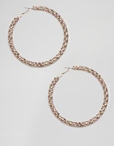 Золотистые серьги-кольца со стразами River Island - Золотой